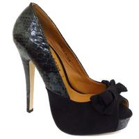 View Item LADIES BLACK SNAKESKIN PEEP-TOE PLATFORM STILETTO MARY-JANE COURT SHOES SIZE 3-8